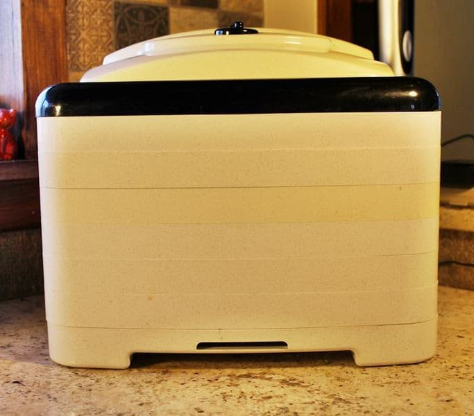 Square Nesco dehydrator sitting on the kitchen counter.