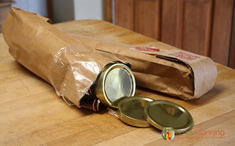 Bulk sleeves of canning jar lids.