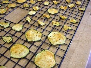 Dried zucchini chips sitting on the trays.