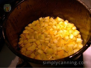 Blanching chunks of zucchini in a large pot.