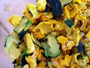 Dehydrated green and yellow zucchini pieces in a jar.