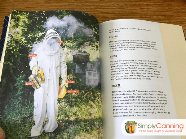 Interior page of book showing a person wearing a full beekeeping suit.