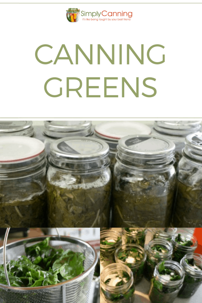 Jars of home canned greens.