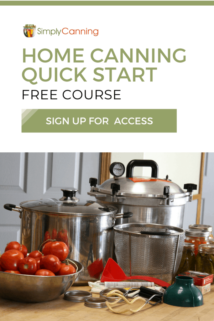 home canning quick start with button and canning equipment