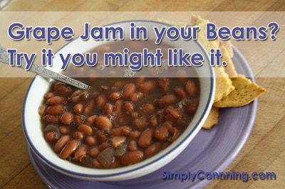 GrapeJam and Pinto Beans mix in a bowl.