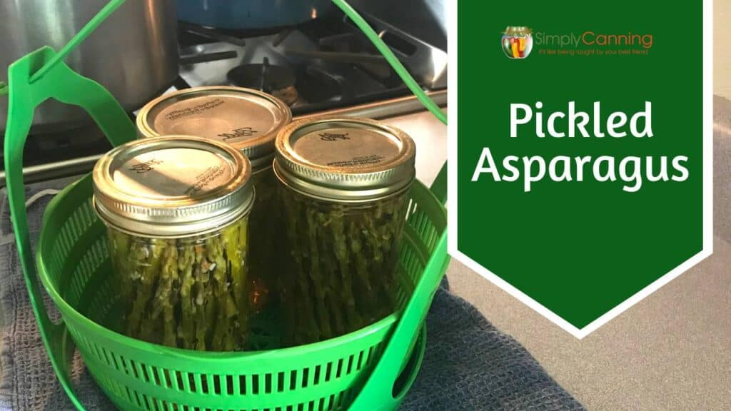 A basket of pickled asparagus linking to the member lesson.