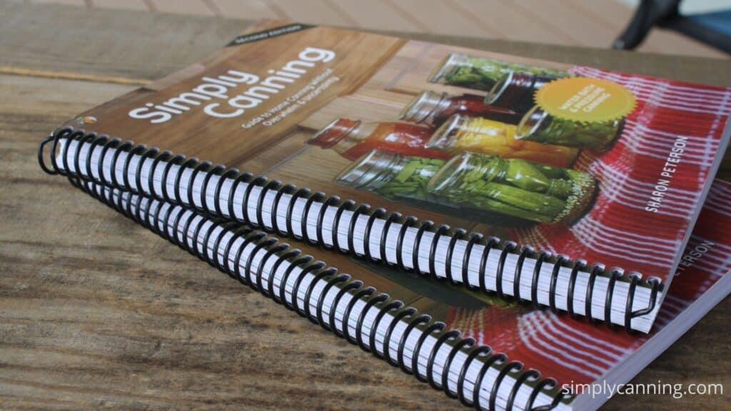 Closeup look at Simply Canning Guide spiral binding.