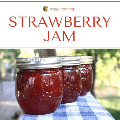 Jars of bright red strawberry jam - no commercial pectin required!