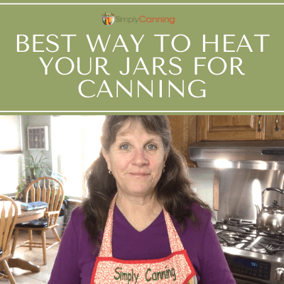 Sharon standing in her kitchen talking about heating jars for canning.