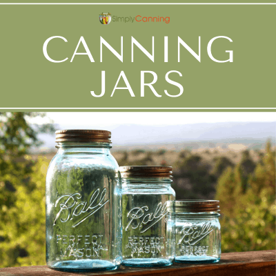 Pretty blue Ball canning jars in various sizes.