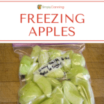 A labeled freezer bag filled with peeled and sliced apples.