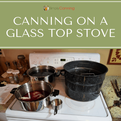 Canners and pots on a glasstop stove.