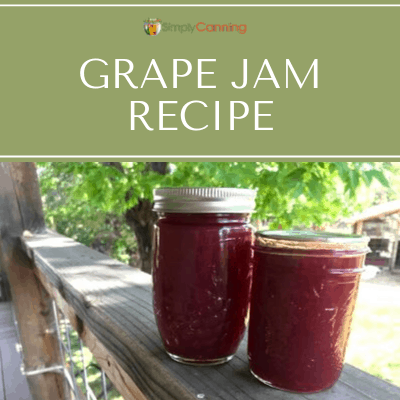 Two large jars of redish-purple grape jam.