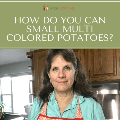 Sharon discussing canning small, multi-colored potatoes.