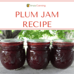 Three small jars of deep red plum jam.