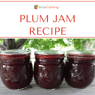 Jars of plum jam.