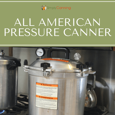 All American pressure canner sitting on the stovetop, with the lid closed.