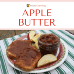 An open jar of homemade apple butter next to toast slathered with apple butter and surrounded by apple slices.