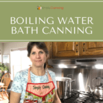 Sharon standing next to her boiling water bath canner.