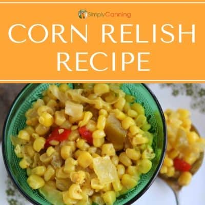 Green dish filled with bright yellow corn relish.