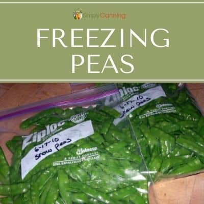 Whole green peas packed into labeled freezer bags.