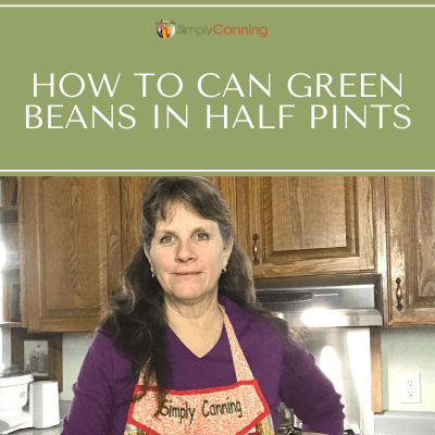Sharon in her kitchen talking about how to can green beans in half pints.
