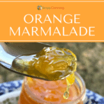 Orange marmalade on a spoon.
