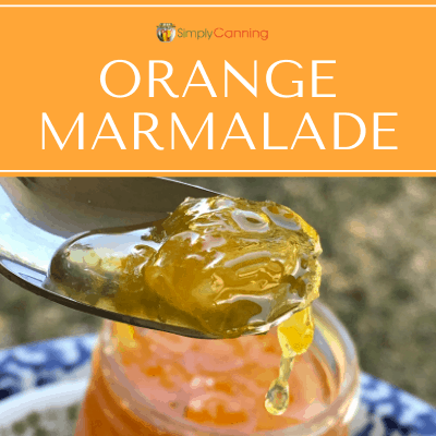 Orange marmalade dripping off a spoon. It looks delicious!