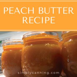 Peach butter in small decorative jars.