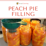 Spooning messy peach pie filling into quart jars for canning.