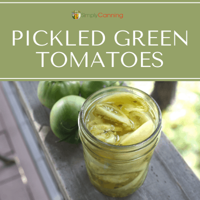 Jars of pickled green tomatoes.