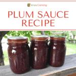 Three pint jars of burgundy colored plum sauce.