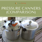 All American and Presto pressure canners sitting next to each other on the deck.