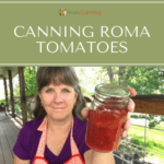 Sharon holding a small jar of canned tomatoes.