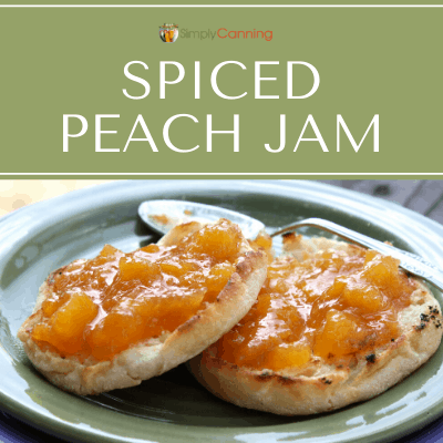 Chunky spiced peach jam spread over English muffins.