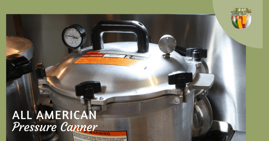 The All American canner sitting on the stovetop.