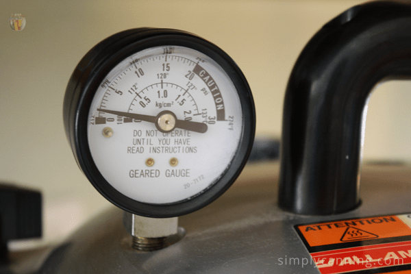 Closeup view of the All American pressure canner gauge.