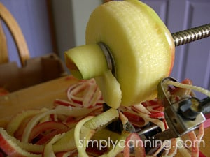 Peeling and slicing an apple using the tool.