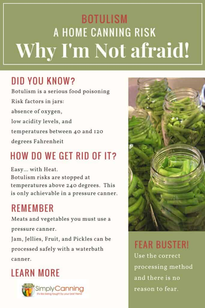 Botulism is food poisoning caused by improper processing and handling. Thankfully, it's very easy to avoid it altogether with some common sense and best practices. SimplyCanning.com explain here.