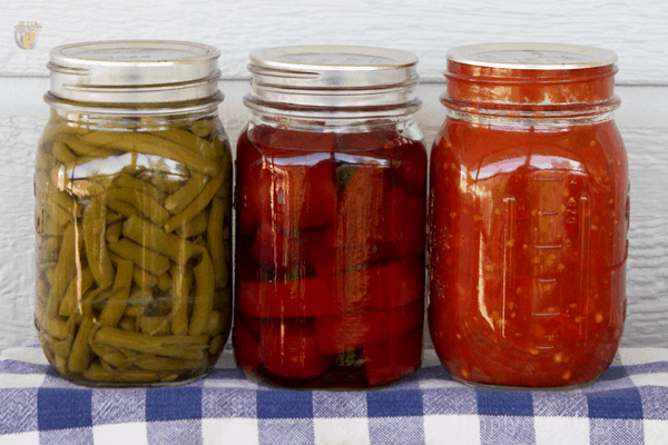 Home canned beans, beets, and tomato sauce in jars.