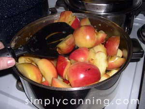 Cooking down apples in a large pot.
