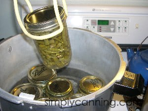Lifting a pint jar of processed green beans out of the steaming hot canner.