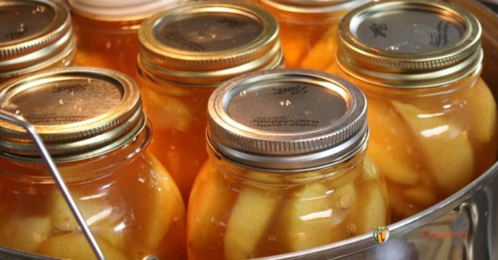 Jars of colorful peach pie filling in the canner.