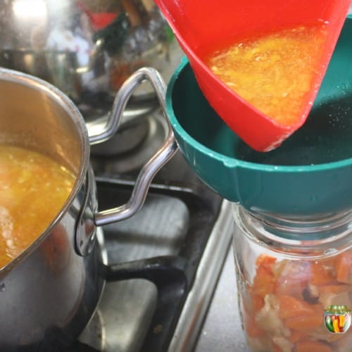 Pouring soup into a canning jar through a canning funnel with the pot of soup to the side.