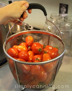 Tomatoes in basket.