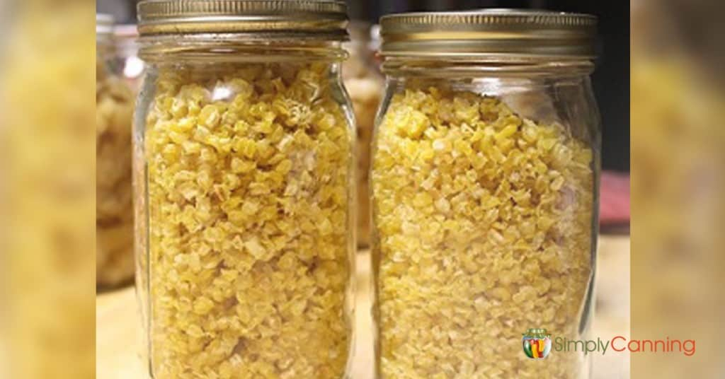 Jars filled with dehydrated corn.