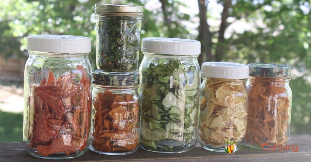 Jars full of dehydrated food.