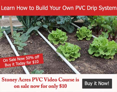 Learn how to build your own PVC drip system. Stoney Acres PVC Video Course is on sale now for only $10. Buy it now!