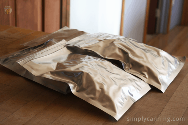 Shiny long term storage bags for food.