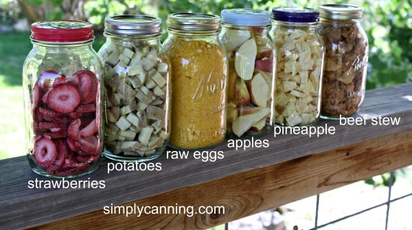 Freeze dried strawberries, potatoes, raw eggs, apples, pineapple, and beef stew stored in jars.